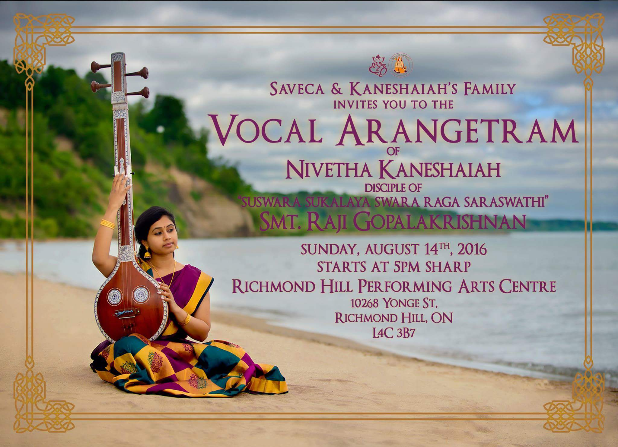 Inviation: Vocal Arangetram of Nivetha Kaneshaiah